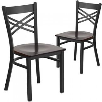 Silla de restaurante con respaldo metálico '' X '' con respaldo metálico de la serie Flash Furniture Hercules - Asiento de vinilo