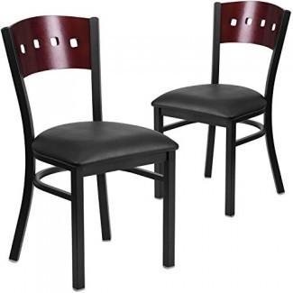 Silla de restaurante de 4 muebles con respaldo cuadrado de metal Hercules de la serie Flash - Respaldo de madera de caoba, asiento de vinilo