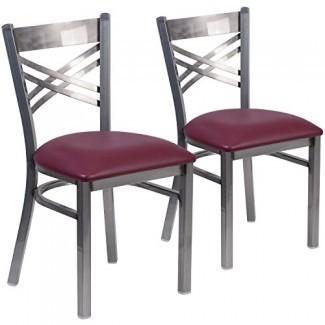 """Silla de restaurante con respaldo de metal"""" X """"con respaldo transparente de la serie Hercules de Flash Furniture - Asiento de vinilo"""