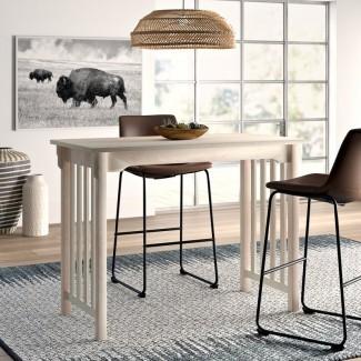 Mesa de comedor de madera maciza de altura de mostrador Araceli