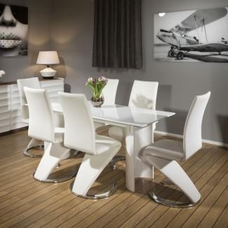 Mesa de comedor rectangular estrecha Quatropi White Corian & 6 ...