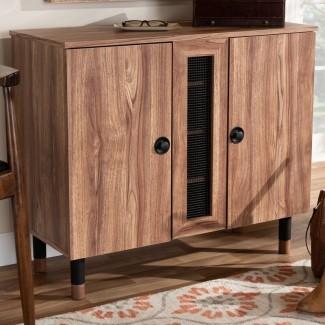 Entrada de madera moderna y contemporánea de 2 puertas Armario de almacenamiento de calzado de 8 pares