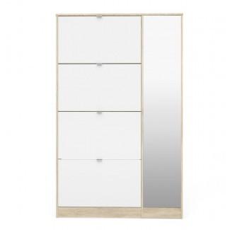 Ridgley 4 puerta abatible y 1 puerta de espejo Gabinete de almacenamiento de zapatos de 24 pares