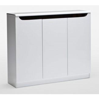 Muebles. Zapatero de madera blanca con tres rectángulos ...