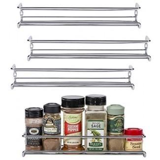 """Unum Chrome - Montaje en pared / estante para puerta de gabinete (x4) - Organizadores / estantes para especias colgantes de un solo nivel para despensa, pared / armario de cocina, estufa y almacenamiento de puerta de armario - 11 3/8 """"L x 3"""" D x 2 """"H"""
