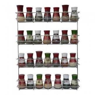 Estante de especias de 4 niveles - Estante de especias de montaje en pared y puerta de gabinete - Estante de hierbas Cromo - Organizador de almacenamiento de armario de cocina de Coninx - Tiene 32 frascos