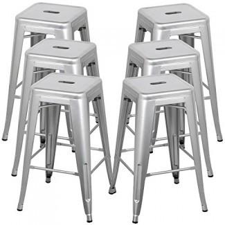 Belleze Taburetes de bar de metal de 30 pulgadas, Taburete moderno Taburete de bar Silla apilable Reposapiés gris (Juego de 6)