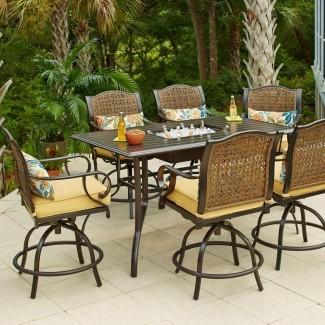 Hampton Bay Vichy Springs Juego de comedor alto para patio de 7 piezas ...