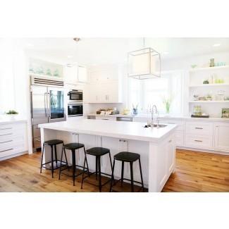 Isla de cocina blanca con encimera de metal negro sin respaldo ...