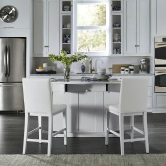 Home Styles Linear White Kitchen Island y taburetes de 2 bares. .