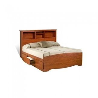 Prepac Monterey Queen Bookcase Platform Storage Bed in Cherry