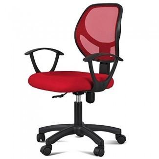 Yaheetech Silla de oficina moderna Cojín de tela con malla Silla de computadora con respaldo medio Silla de apoyo lumbar / silla de trabajo con brazos / ruedas Rojo