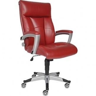 Sealy Roma Silla de oficina ejecutiva de cuero, brazos fijos, rojo ...