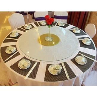 Manteles individuales Convetu para mesas redondas, tapetes PM05 para cocina y comedor Juego de 4 tapetes modernos de color sólido Textilene PVC vinilo antideslizante lavable