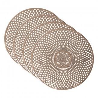 """Mantel individual Lucienne espiral metálico redondo de 15 """"(juego de 4)"""