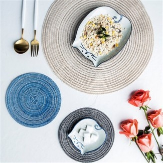 Manteles individuales redondos para mesa de comedor