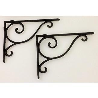 Productos de tía Chris '[Lot/Set of 2] - Soporte de estante con desplazamiento victoriano simple Diseño - Hierro forjado - Percha multiuso - Oscuro Diseño primitivo de bronce rústico - Uso interior o exterior