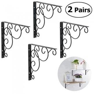Soportes de estante WINOMO 4 piezas Soportes de estante florales montados en la pared Negro