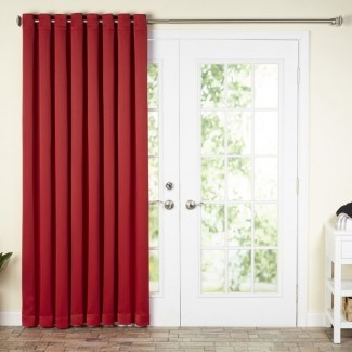 Wayfair Basics Panel de cortina de patio simple con ojal de oscurecimiento sólido