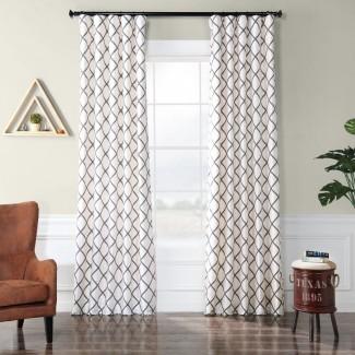 Panel de cortina individual de bolsillo con varilla de oscurecimiento geométrico Leonidas