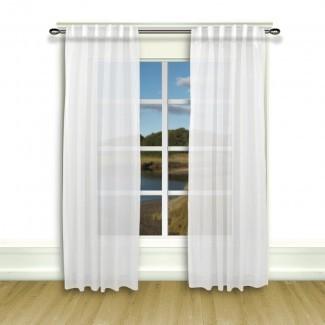 Saint-Raphael Paneles de cortina con pestaña trasera semi-transparente sólida (juego de 2)