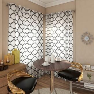 Lonergan Paneles de cortina con ojales semi-transparentes geométricos (juego de 2)