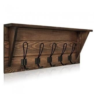 Oyeye Perchero de pared, marrón Rústico Madera 24 '' Percheros de entrada 5 ganchos rústicos para baño, sala de estar, dormitorio y cocina (madera maciza de pino)