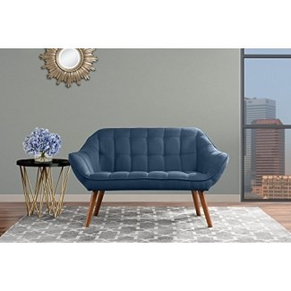 Sofá de sala de estar, sofá de tela de lino capitoné