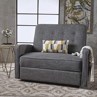 GDF Studio 301528 Sofá de dos plazas reclinable gris + negro