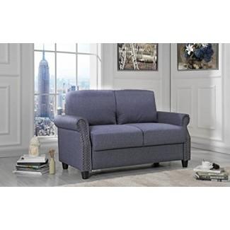 Sofá clásico Lovemania Sofá de lino con ribete de uñas y espacio de almacenamiento