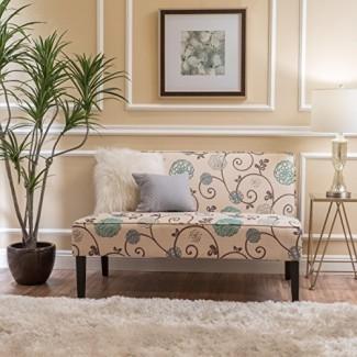 Love Seat de tela floral blanco y azul de Devlin