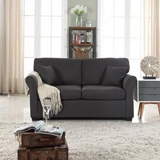 Loveseat de tela de lino ultra cómodo y clásico - Sofá de tela para sala de estar