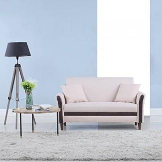 Divano Roma Muebles modernos 2 tonos pequeños espacios de tela de lino loveseat