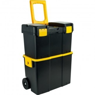 Caja de herramientas móvil apilable con ruedas