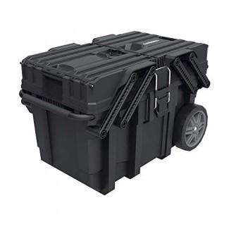 Husky 25 in. Gran diseño Heavy Duty Cantilever Trabajo móvil Caja organizadora de almacenamiento de herramientas con bandejas desplegables, manija y ruedas más fuertes