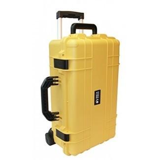 Estuches Ibex - Estuche protector amarillo resistente al agua con ruedas y asa para dispositivos electrónicos, equipos, cámaras, herramientas, drones y más (IC-1800YLW)