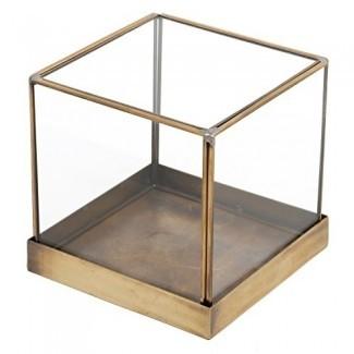 MyGift Marco de latón vintage de 5 pulgadas y vitrina de vidrio, Terrario de planta de cubo decorativo