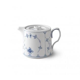 Plan estriado azul 0,78 qt. Tetera de porcelana