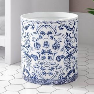 Kit de cesto de basura azul y blanco de porcelana