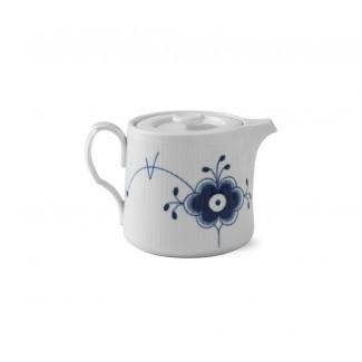 Azul estriado Mega 0,78 qt. Tetera de porcelana