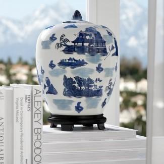 Jarra de porcelana Christiane con diseño azul del paisaje en blanco