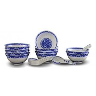 10 piezas de porcelana fina azul y Tazones de arroz blanco, tazones de cereal, tazones de arroz con 10 cucharas de porcelana gratis Tazón de sopa de China Jingdezhen, juego de tazones de frutas