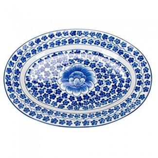 Sea Island importa elegante plato de porcelana con patrón de cilantro pintado a mano azul y blanco