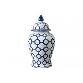 Diseño exclusivo de Ashley Dionyhsius Jarra de porcelana, azul / blanco