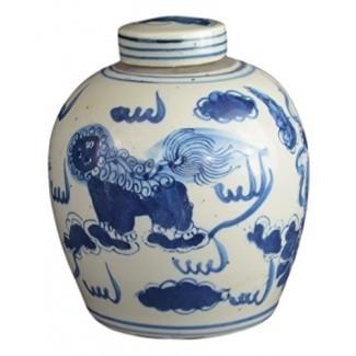 Jarrón de porcelana azul y blanco estilo antiguo Festcool Jarrón de cerámica cubierto con leones, estilo chino Ming, Jingdezhen (LJ2)
