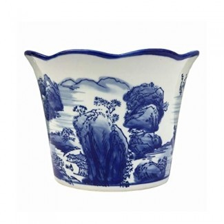 Minmin-huaping Maceta de cerámica pintada a mano Porcelana azul y blanca colgante Retro Hierba de orquídea Carnoso Verde Plantar Maceta de interior Decoración de maceta