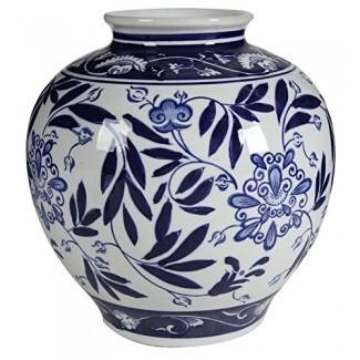 """A&B Home Jarrón de porcelana azul y blanca, 8.5 """"x 8.5"""" x 9 """","""