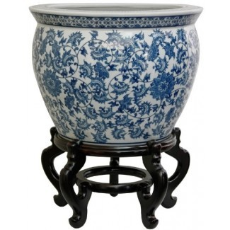 """MUEBLES ORIENTALES Maceta de pecera de porcelana china clásica Jardinera - Ming Floral azul y blanco Diseño: 12 """", 14"""" y 16 """"de diámetro."""