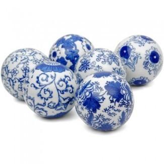 """Oriental Furniture - Juego de bolas de porcelana decorativa, azul y blanco, 3 """"(B)"""