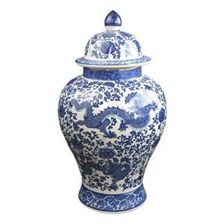 "Festcool 20 ""Classic Blue and White Porcelain Dragon Temple Ceramic Ginger Jarrón, estilo chino Ming"